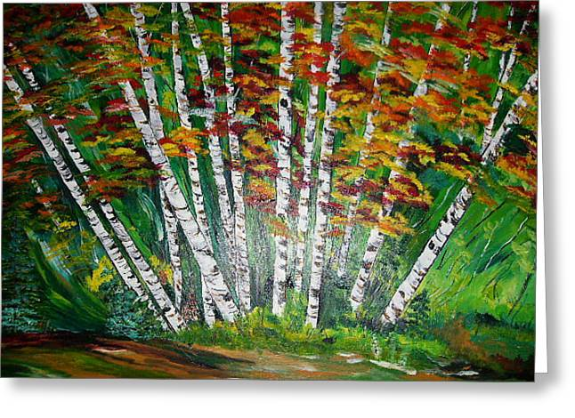 Aspen Grove In October Greeting Card by Terry Lash
