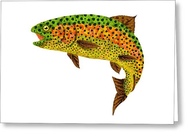 Aspen Leaf Rainbow Trout 1 Greeting Card by Agustin Goba