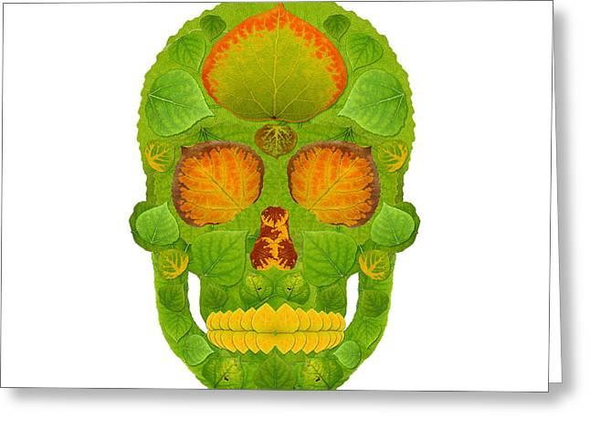 Aspen Leaf Skull 10 Greeting Card by Agustin Goba