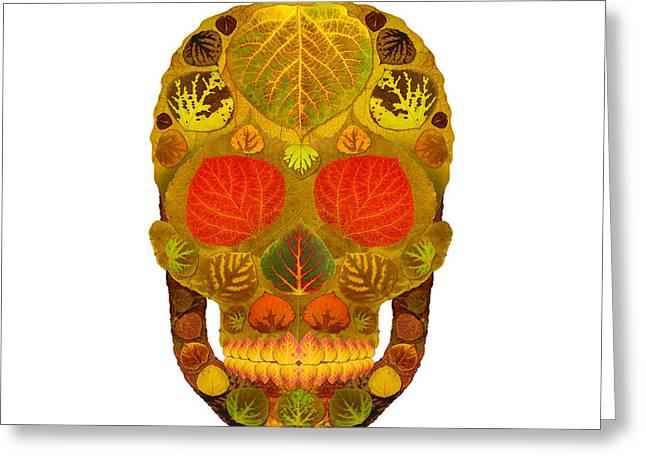 Aspen Leaf Skull 12 Greeting Card by Agustin Goba