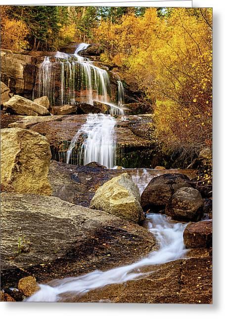 Aspen-lined Waterfalls Greeting Card