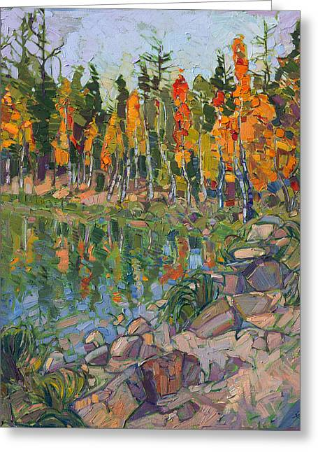 Greeting Card featuring the painting Aspen Row by Erin Hanson