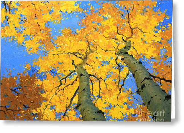 Autumn Prints Greeting Cards - Aspen Sky High  Greeting Card by Gary Kim