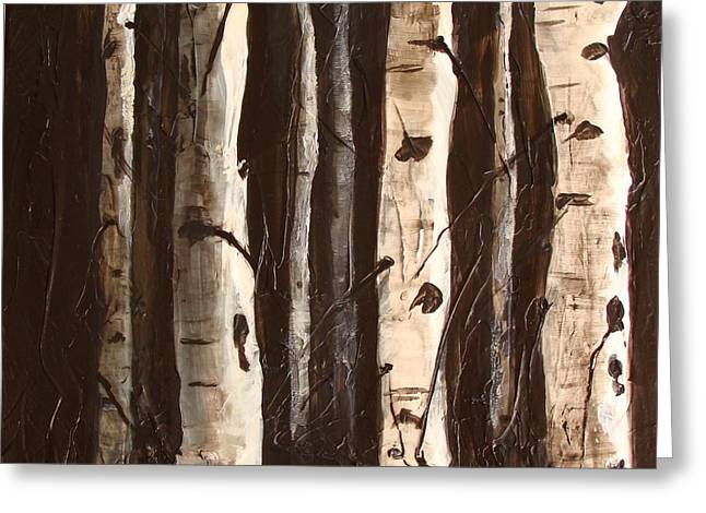 Greeting Card featuring the painting Aspen Stand by Phyllis Howard