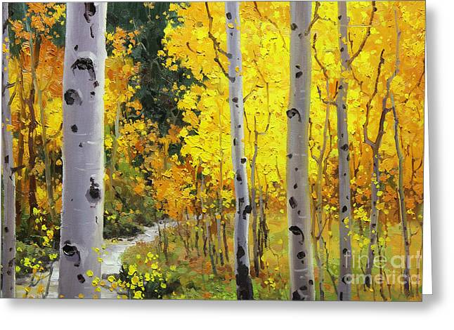 Aspen Stream Greeting Card by Gary Kim