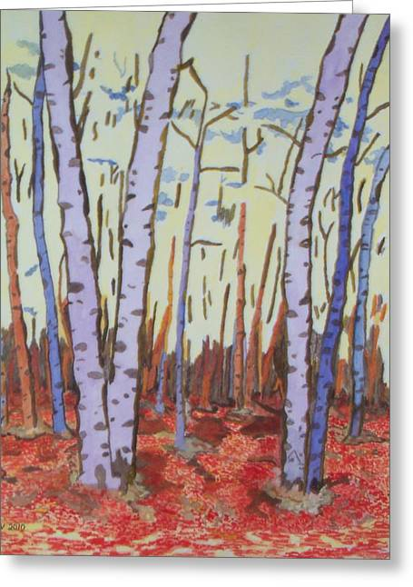 Aspen Trees Greeting Card by Connie Valasco