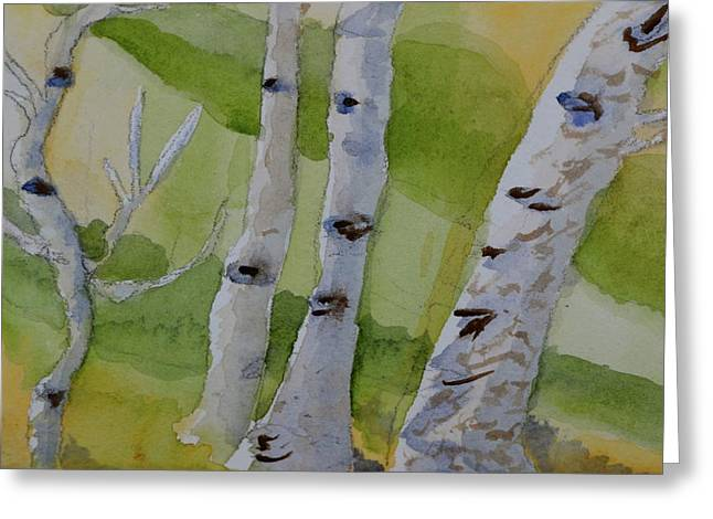 Greeting Card featuring the painting Aspen Trunks by Beverley Harper Tinsley