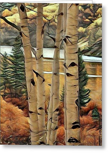 Aspens By The Lake Greeting Card