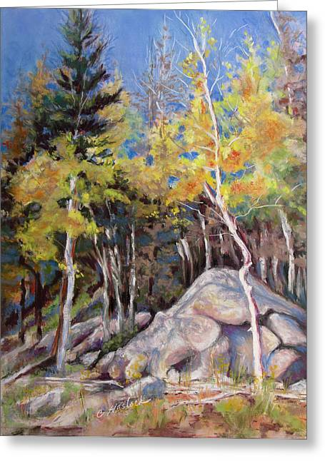 Aspens Near Bear Lake Greeting Card by Carole Haslock