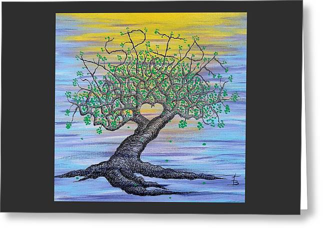 Greeting Card featuring the drawing Aspire Love Tree by Aaron Bombalicki