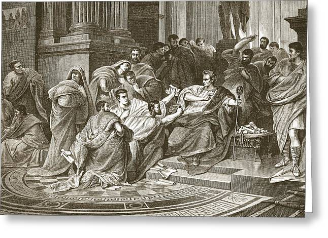 Assassination Of Julius Caesar Greeting Card by English School
