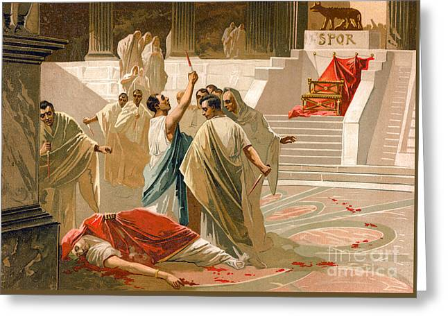 Assassination Of Julius Caesar Greeting Card by Spanish School