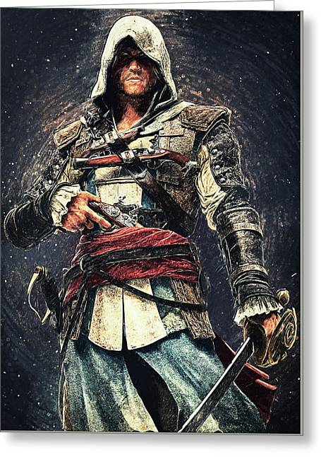 Assassin's Creed - Edward Kenway Greeting Card by Taylan Apukovska