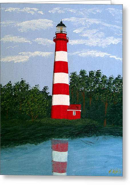 Greeting Card featuring the painting Assateague Island Light by Frederic Kohli