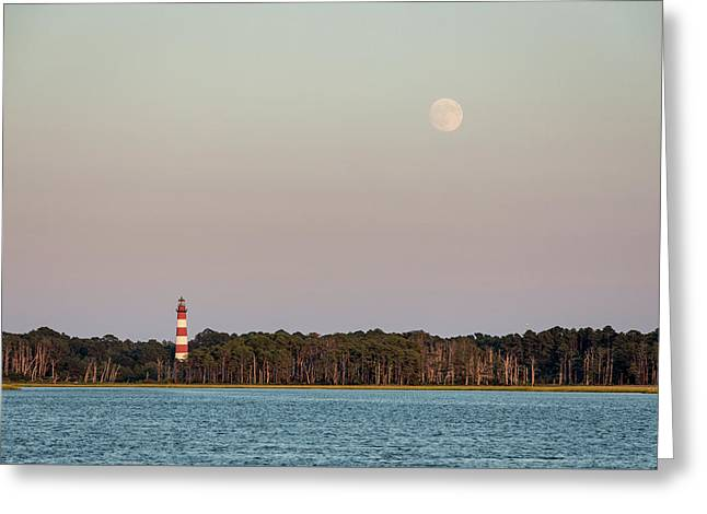 Assateague Light And The Full Moon Greeting Card