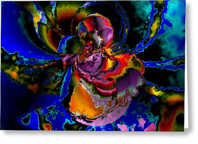 Colorful Abstract Algorithmic Contemporary Greeting Cards - Assault by the BLUES Greeting Card by Claude McCoy