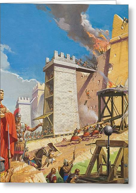 Assault On Carthage Greeting Card by Severino Baraldi