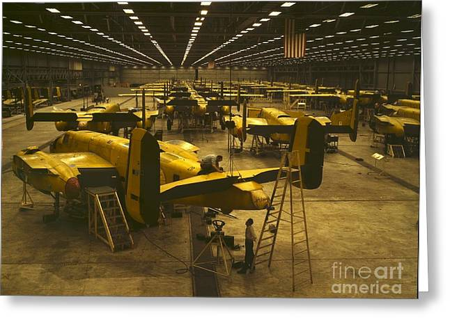 Assembling B-25 Bombers Greeting Card by Padre Art