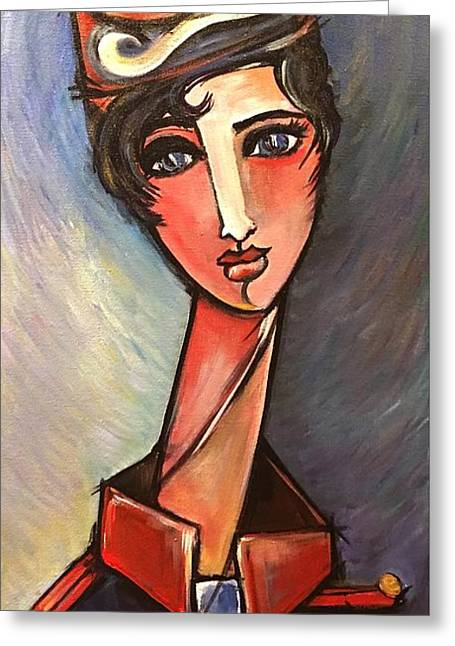 Greeting Card featuring the painting Assisente Di Volo by Laurie Maves ART