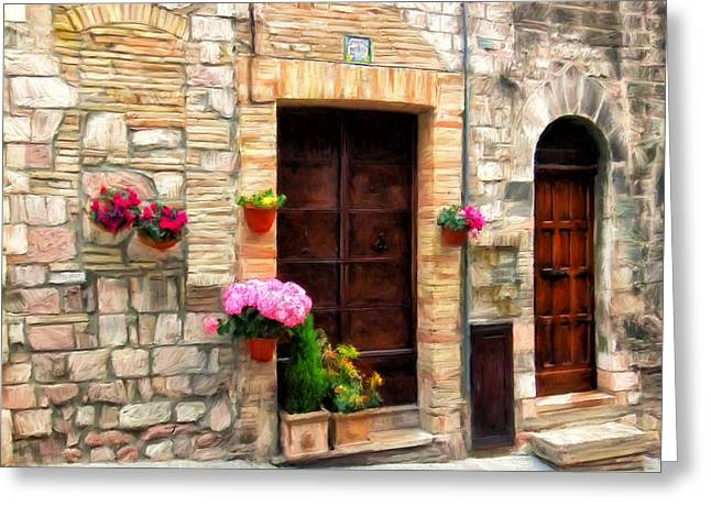 Assisi Doorways Greeting Card by Dominic Piperata