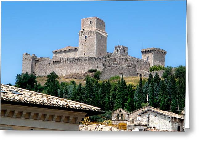Assisi Italy - Rocca Maggiore Greeting Card by Gregory Dyer
