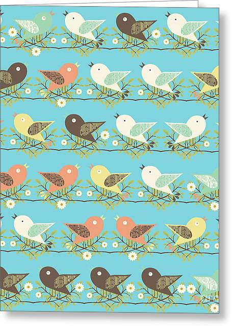 Assorted Birds Pattern Greeting Card