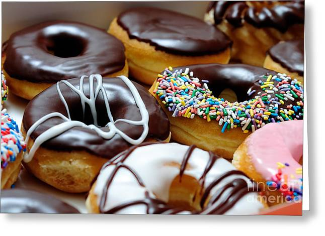 Assorted Doughnuts Close-up Picture Greeting Card by Paul Velgos