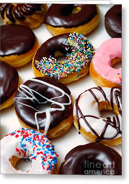 Assorted Doughnuts Picture Greeting Card by Paul Velgos
