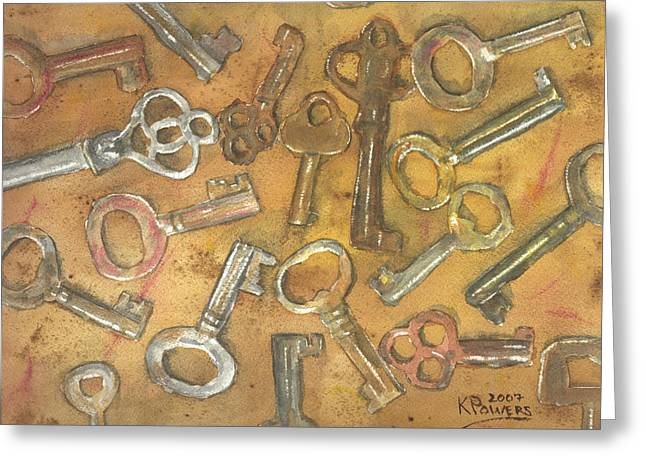 Assorted Skeleton Keys Greeting Card by Ken Powers