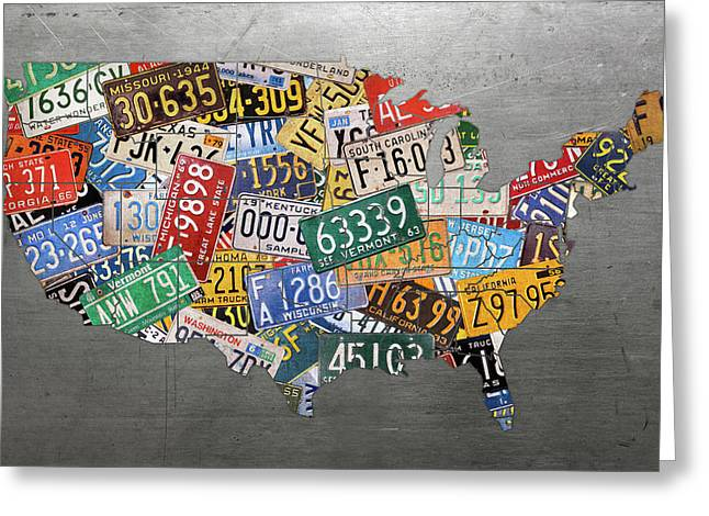 Assorted Vintage Colorful License Plates Of The Usa Map On Steel Greeting Card by Design Turnpike