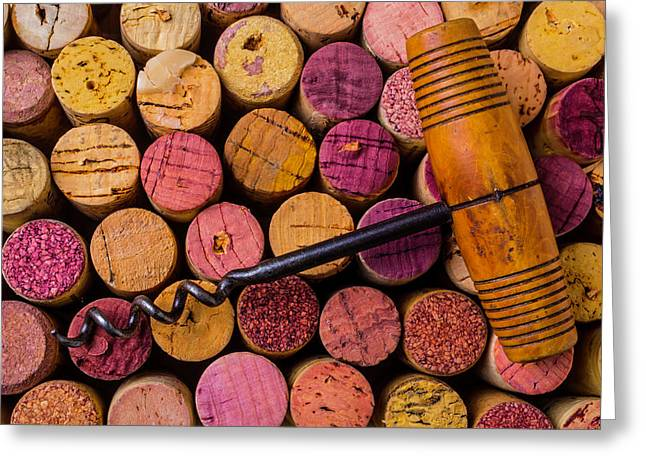 Assorted Wine Corks And Corkscrew Greeting Card