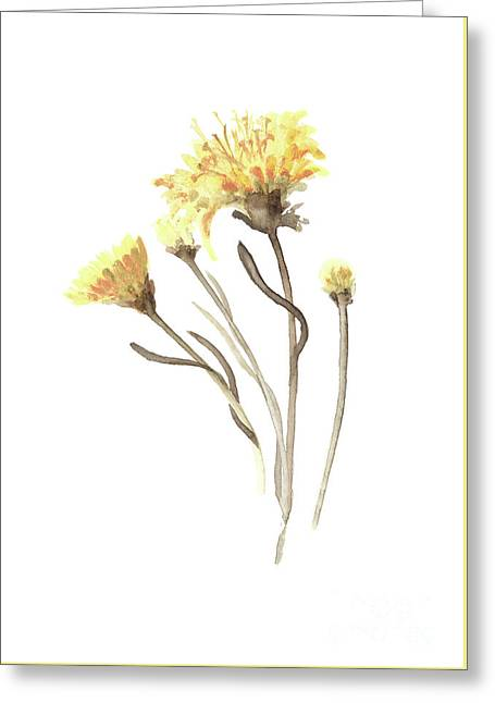 Aster Yellow Flower Abstract Art Print, Asters Watercolor Painting, Floral Minimalist Wall Decor Greeting Card by Joanna Szmerdt
