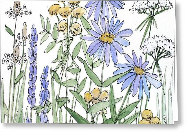 Asters And Wildflowers Greeting Card