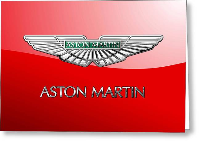 Aston Martin - 3 D Badge On Red Greeting Card by Serge Averbukh