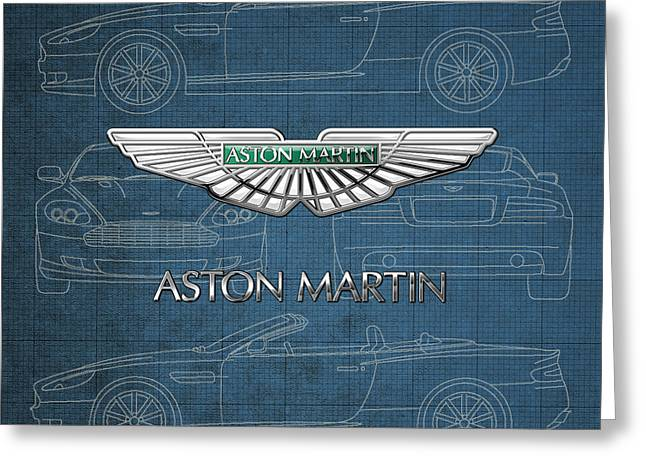 Aston Martin 3 D Badge Over Aston Martin D B 9 Blueprint Greeting Card by Serge Averbukh