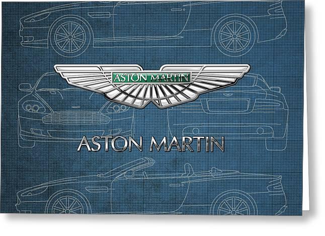 Aston Martin 3 D Badge Over Aston Martin D B 9 Blueprint Greeting Card by Serge Averbukh