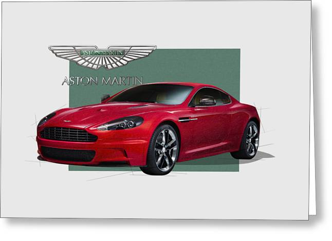 Aston Martin  D B S  V 12  With 3 D Badge  Greeting Card by Serge Averbukh