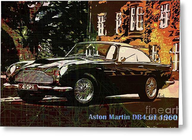 Aston Martin Db4 Gt 1960 On Old Chicago Map Greeting Card by Pablo Franchi