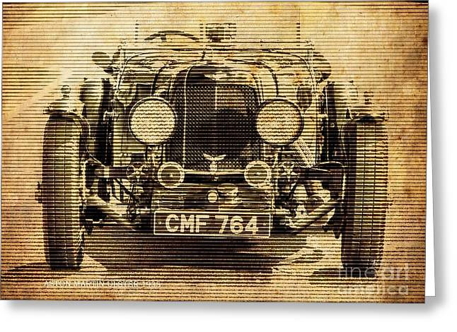 Aston Martin Ulster 1935, Vintage Background Greeting Card by Pablo Franchi