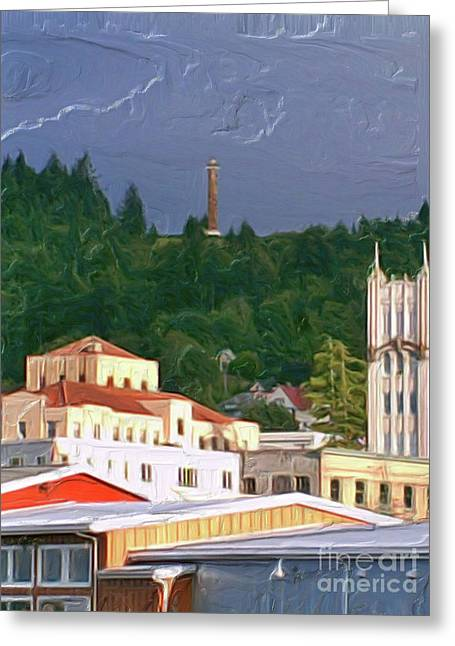 Astoria Oregon Greeting Card by Methune Hively