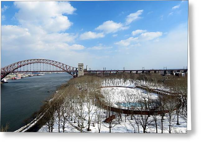 Astoria Park Queens Ny Hell Gate Bridge Greeting Card by Kenneth Summers