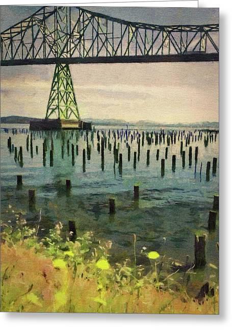 Astoria Waterfront, Scene 3 - Pier Posts Under The Bridge Greeting Card