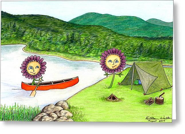 Canoe Drawings Greeting Cards - Astors Camping Greeting Card by Kathleen Walker