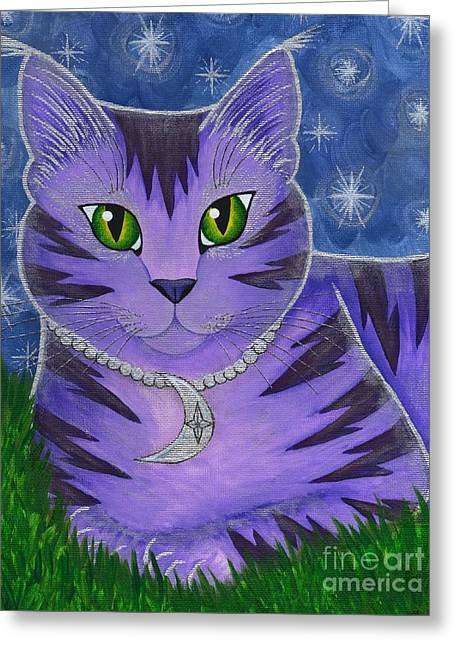 Astra Celestial Moon Cat Greeting Card by Carrie Hawks