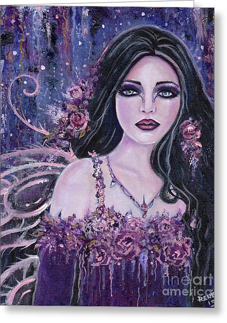 Astract Rose Fairy Greeting Card by Renee Lavoie