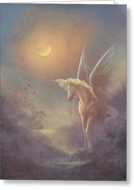 Astral Pegasus Greeting Card by Jack Shalatain