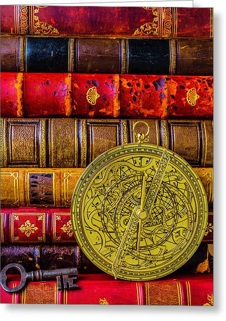 Astrolabe And Old Books Greeting Card by Garry Gay