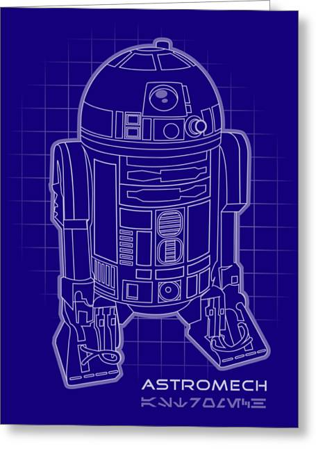 Astromech Blueprint Greeting Card by Edward Draganski
