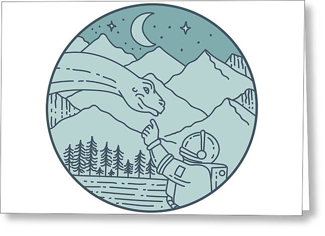 Astronaut Brontosaurus Moon Stars Mountains Circle Mono Line Greeting Card