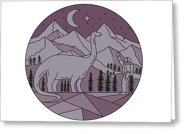 Astronaut Brontosaurus Mountain Moon Circle Mono Line Greeting Card